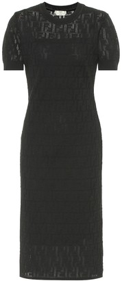 Fendi Cotton-blend knit midi dress
