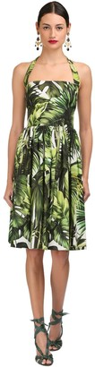 Dolce & Gabbana Palms Printed Cotton Poplin Midi Dress