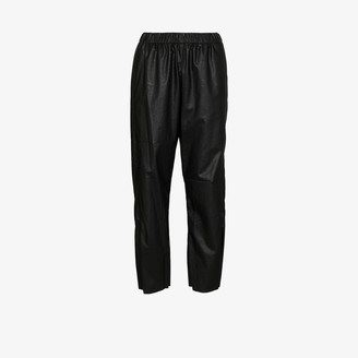 MM6 MAISON MARGIELA High Waist Faux Leather Track Pants