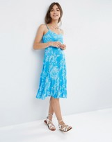 Asos Pleated Midi Dress in Blue Summer Floral Print