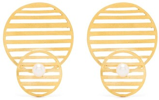 HSU JEWELLERY LONDON Flowing double pattern circle earrings