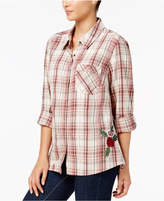 Style&Co. Style & Co Petite Cotton Embroidered Plaid Utility Shirt, Created for Macy's