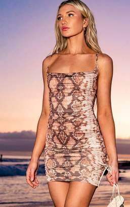 PrettyLittleThing Taupe Slinky Snake Cowl Neck Bodycon Dress