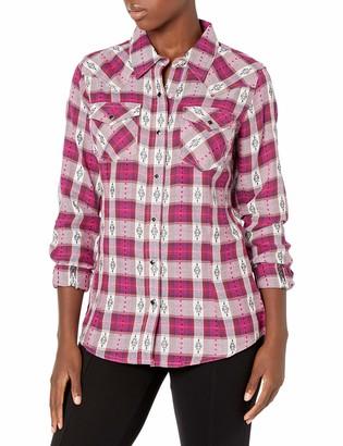 Wrangler Women's Retro Long Sleeve Western Flannel Snap Shirt