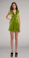 Kara Janx Grass Green Ruffle Cocktail Dresses
