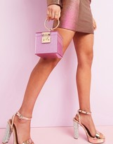 Asos DESIGN luxe vanity box clutch in glitter