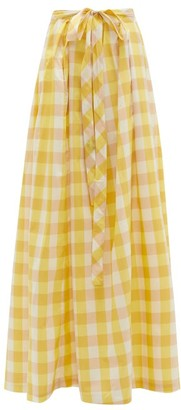 Thierry Colson Java Pleated Gingham Cotton-blend Skirt - Yellow Multi