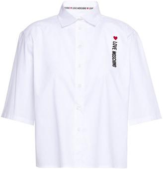 Love Moschino Applique Stretch-cotton Poplin Shirt