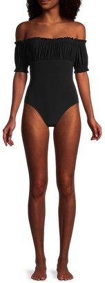Norma Kamali Empire Jose Off-The-Shoulder One-Piece Swimsuit