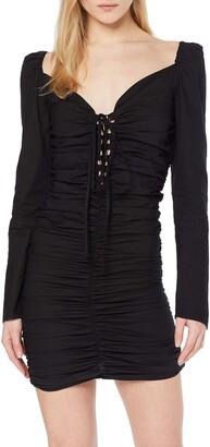 NEON COCO Women's Drape Detail Long Sleeve Bodycon Dress Party