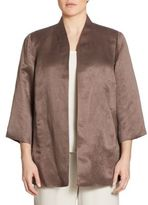 Eileen Fisher, Plus Size Organic Linen Silk Blend Jacket