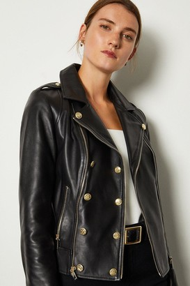 Karen Millen Military Leather Biker