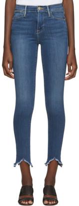 Frame Blue Le High Skinny Triangle Hem Jeans