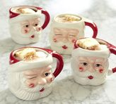 Pottery Barn Santa Figural Mug, Mixed Set of 4 - Benefiting Give a Little Hope Campaign