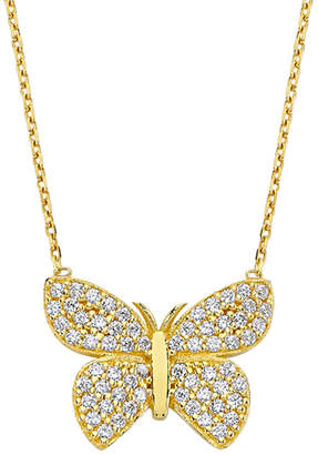 Amorium 18K Over Silver Crystal Butterfly Necklace