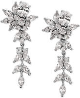 Nina Silver-Tone Crystal Floral Drop Earrings