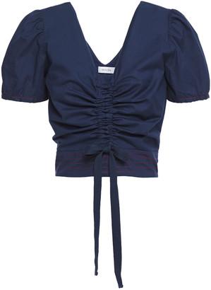 Isolda Ruched Stretch-cotton Poplin Top