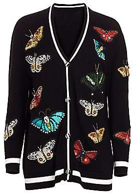 Alice + Olivia Women's Bradford Butterfly-Embroidered Wool-Blend Cardigan