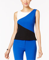 Kasper Stretch-Crepe Colorblocked Top