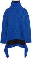 Balenciaga Draped Knitted Lamé Turtleneck Sweater - Blue