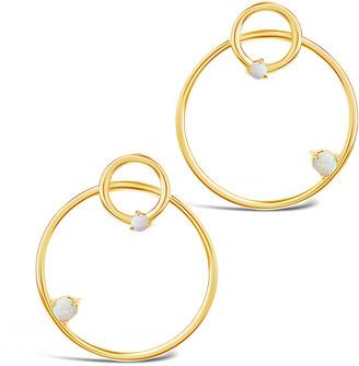 Sterling Forever 14K Over Silver Opal Double Stud Hoop Earrings