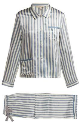 Morgan Lane - Ruthie Striped Silk Pyjamas - Womens - Blue Stripe