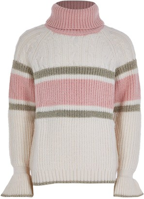River Island Girls Colour Block Cable Knit Jumper -Cream