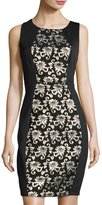 Jax Boat-Neck Sleeveless Sheath Dress, Black/Gold