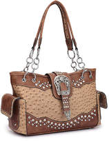 Dasein Tan & Brown Ostrich-Embossed Rhinestone Satchel