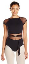 Capezio Women's Wrap Leotard W/ Sheer Cap Sleeve, Belt