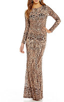 Betsy & Adam Sequined Lace Gown
