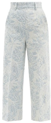 MSGM Floral-jacquard Tailored Denim Trousers - Light Blue