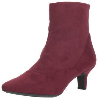 Rockport Women's Kimly Stretch Bootie Ankle Boot Wine Microsuede 7 M US