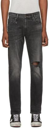 R 13 Black Brandon Slim Jeans