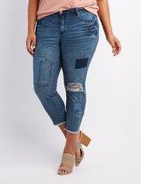 Charlotte Russe Plus Size Refuge Patchwork Boyfriend Destroyed Jeans