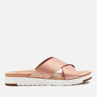 UGG Women's Kari Metallic Cross Strap Slide Sandals - Rose Gold