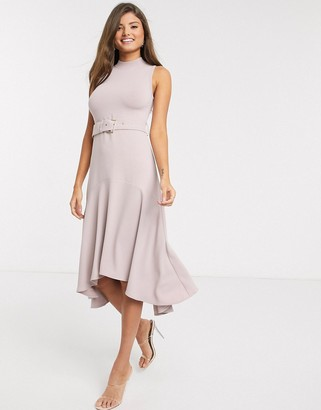 Ted Baker corvala knitted midi dress with fluted skirt in pink