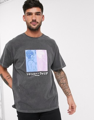 New Look fearless anime over dyed t-shirt in dark grey