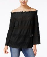 Say What Juniors' Off-The-Shoulder Lace-Stripe Top