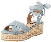 Miss Selfridge Women's Denim Flatform Sandals,39 EU