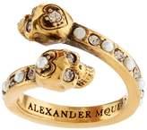 Alexander McQueen Crystal Twin Skull Ring