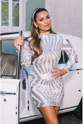 Quiz Sam Faiers Silver Sequin High Neck Bodycon Dress