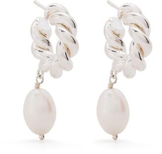 Isabel Lennse Pearl-Embellished Twisted Loop Earrings