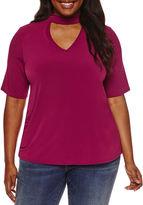 Boutique + + Elbow Sleeve Choker Neck T-Shirt-Plus