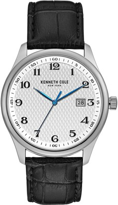 Kenneth Cole New York Men's Leather Strap Watchw/ Date Window