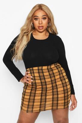 boohoo Plus Checked Mini Skirt
