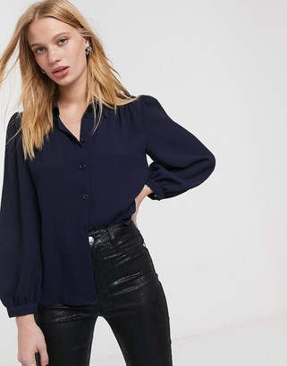 And other stories & pleated shoulder blouse in navy