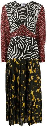 Rixo Mixed-Print Midi Dress