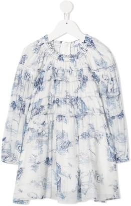 Chloé Kids TEEN tiered porcelain-print dress