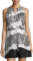 Halston Sleeveless Printed Dress, Black